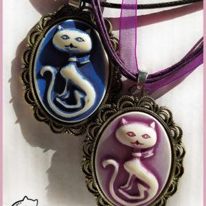 Bijou chat original : pendentif camée création La Boîte à Chats